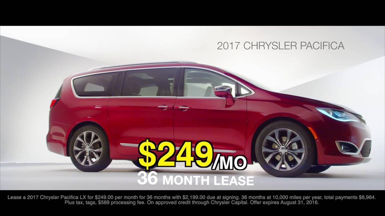 Chrysler Pacifica Lease >> 2017 Pacifica Lease Deal For 249 Mo Safford Of Winchester Youtube