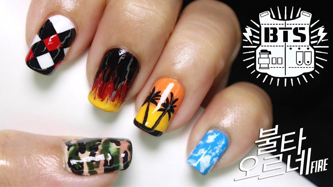 bts inspired nail art - fire