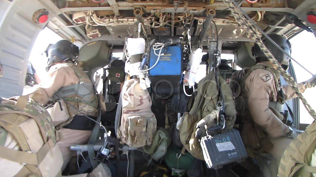Inside Black Hawk Helicopter In Flight (Hd) C. Stock ...