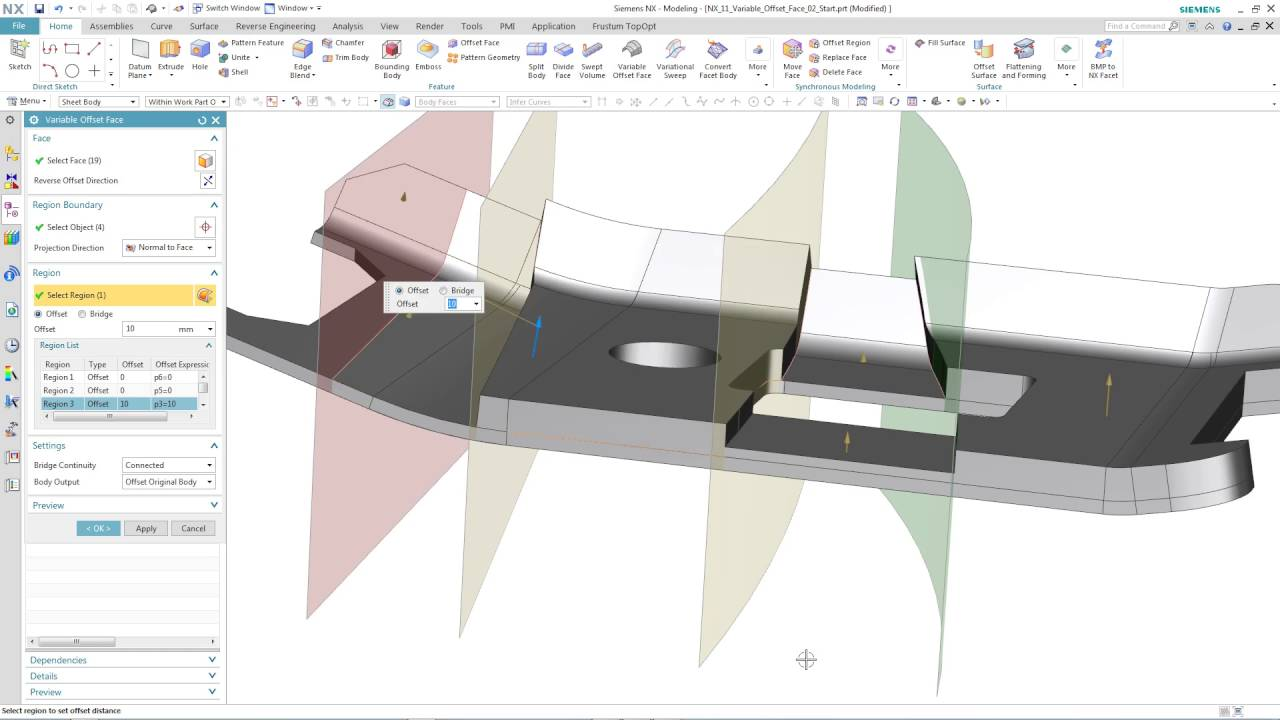 NX 11 new feature - Variable Offset Face, on Solid Body