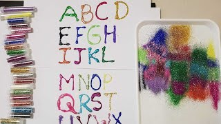 learn Alphabet glitter painting for kids|20 pack glitter Tubes unboxing