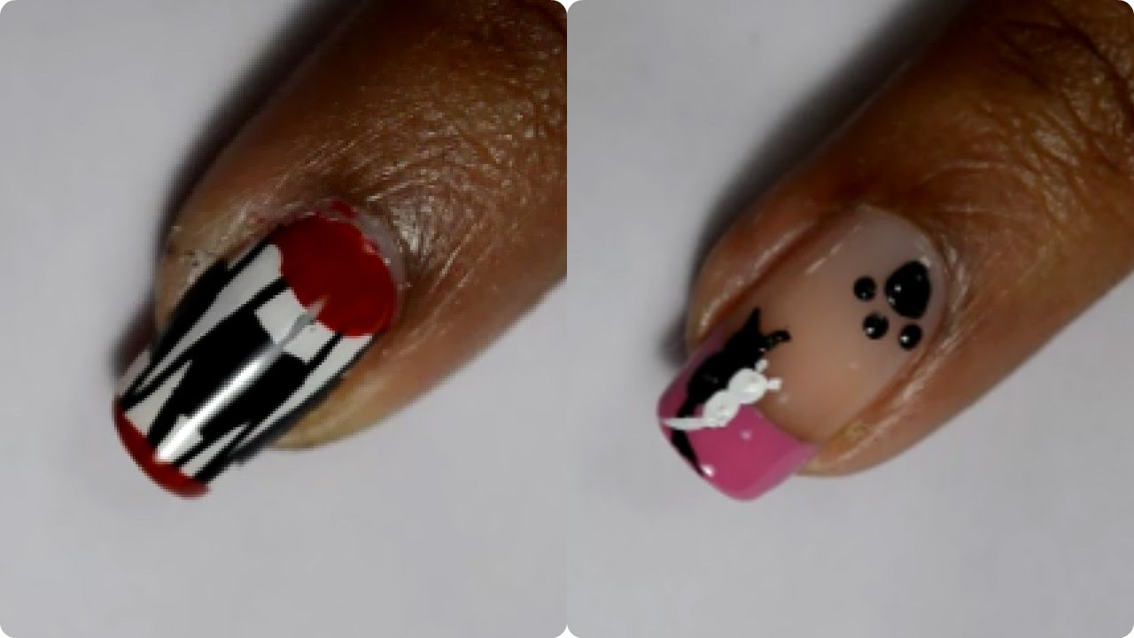 Cute Kitten and Fangs Nail Art - Subscriber requested - YouTube