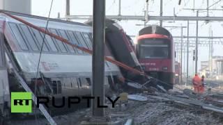 Switzerland: See DRONE footage of train collision aftermath near Zurich