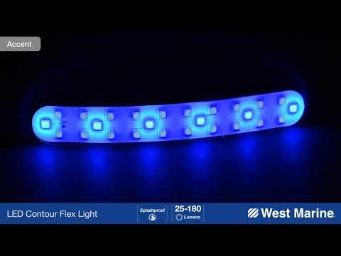 "WEST MARINE 7"" LED Contour Flex Light with Self Adhesive Backing, White and Blue"