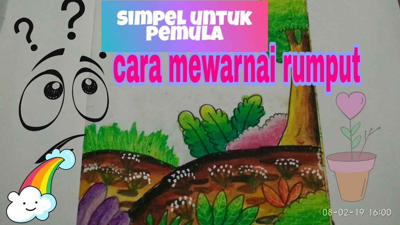 Cara Mewarnai Rumput How To Coloring Grass With Oil Pastel