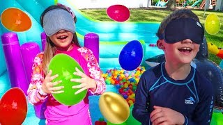 Kids Playing and Find HUGE EGGS Surprise Toys on Big Inflatable Water Slide
