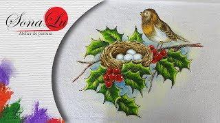Pintando um pássaro no ninho – Pintura em tecido