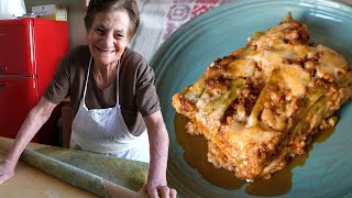 91 year old Maria shares her lasagna recipe with Pasta Grannies!