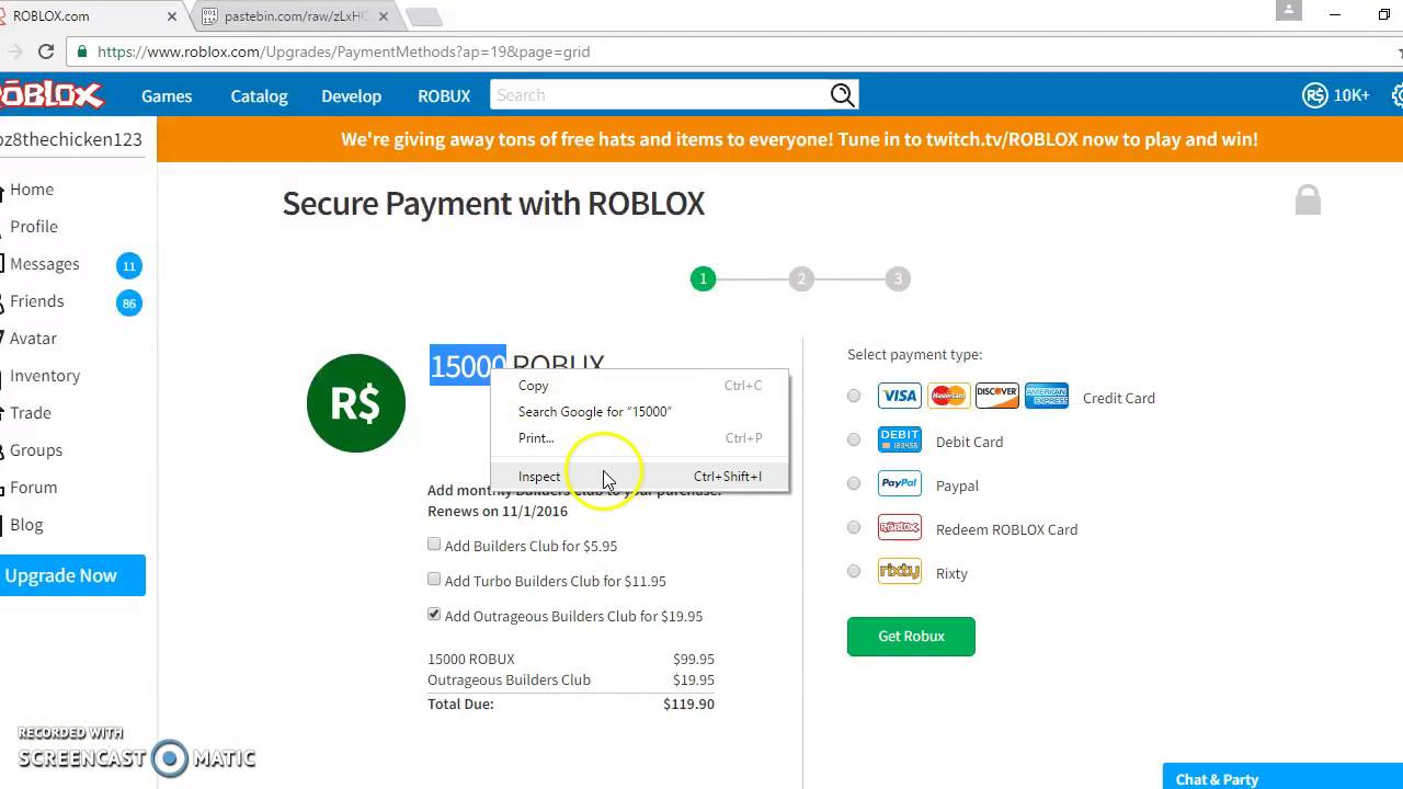 How to get free robux 2016 october youtube ccuart Images