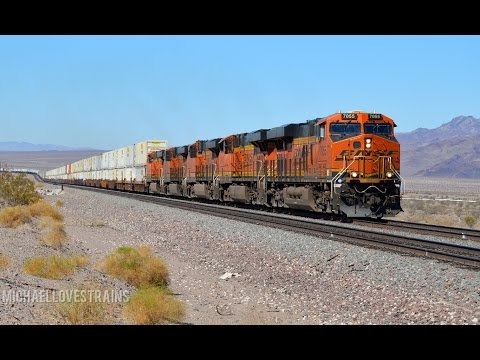 Fast BNSF & UP Freight Trains along the BNSF Needles Sub - Military Train & Endless Action!