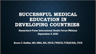 September 2020 SPIHF - Webinar: Successful Medical Education in Developing Countries