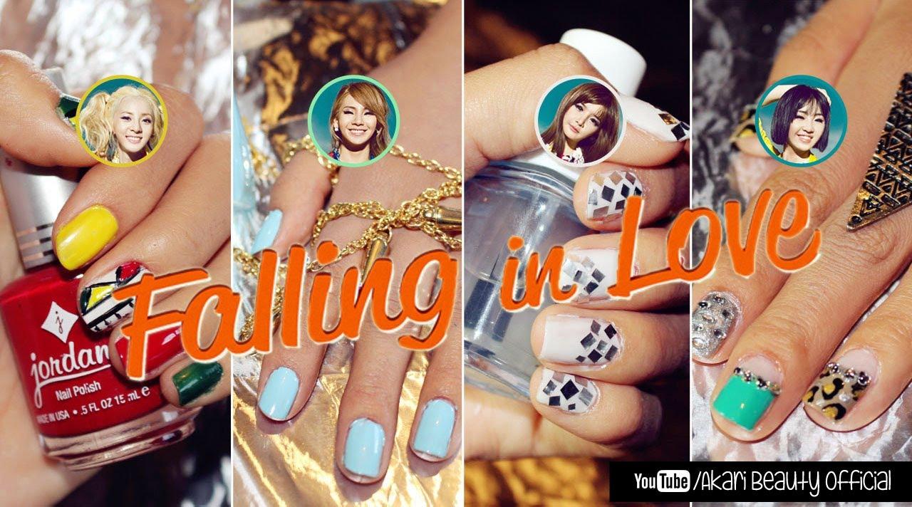 "KPop Nails: 2NE1 ""Falling in Love"" | Akari Beauty - YouTube Dara Falling In Love Nails"