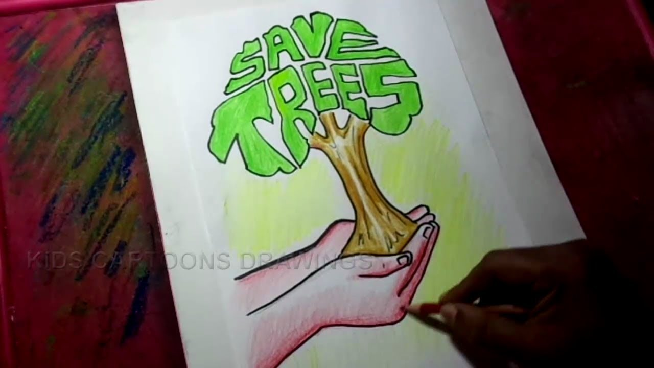 How To Draw Save Trees Save Life Poster Drawing For Kids