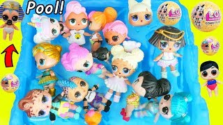 LOL SURPRISE Dolls Open Lil Sister at Pool Accident by Barbie Dreamhouse Adventures Morning Cleaning