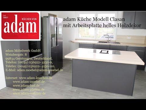 Adam Kuche Modell Clasan Mit Arbeitsplatte Im Hellen Holzdekor