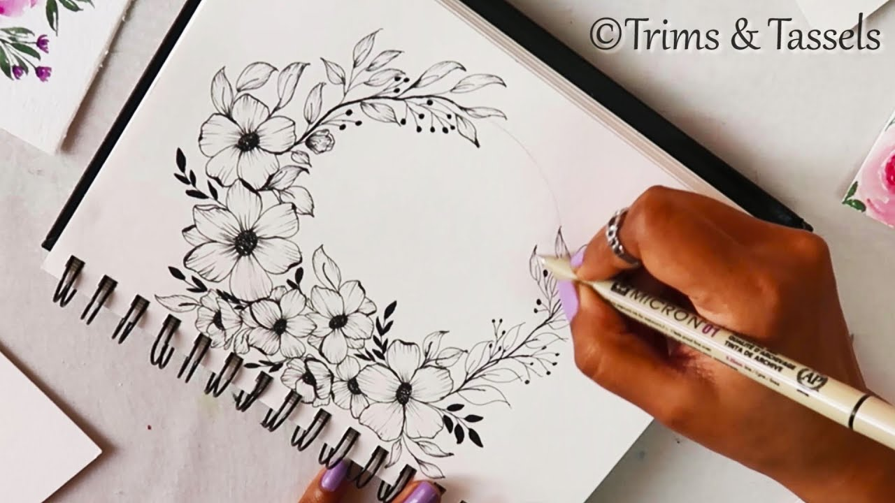 Easy Step By Step Drawing Of Flower Design Project Work Design Paper Decoration Idea