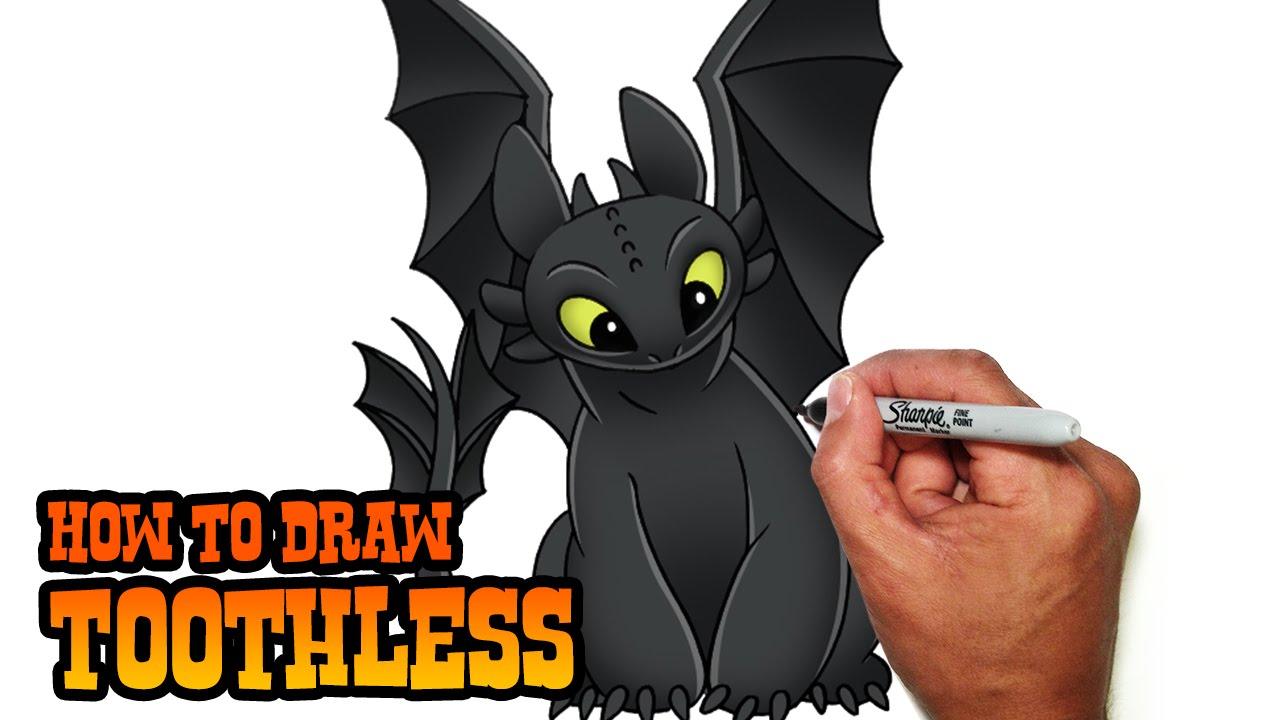 How To Draw Toothless How To Train Your Dragon Easy Video Tutorial