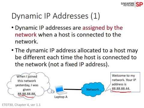 ET0730: Chap 4 - Dynamic and Static IP Addresses