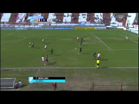 Gol de Linas. Los Andes 1 - Juventud Unida 0. Fecha 27. B Nacional 2015. FPT