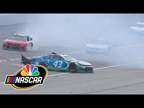 bubba-wallace,-matt-tifft-crash-forces-overtime-finish-at-kansas-speedway-|-motorsports-on-nbc