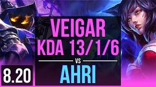 VEIGAR vs AHRI (MID) | KDA 13/1/6, Legendary | BR Challenger | v8.20
