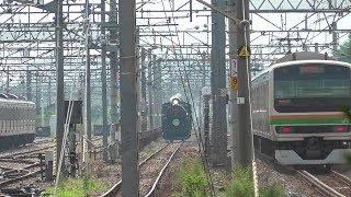 「SL ぐんま みなかみ」客車入換ディーゼル機関車DE10 1705と牽引蒸気機関車C61 20の出区!JR東日本 高崎車両センター 高崎支所 2019年8月