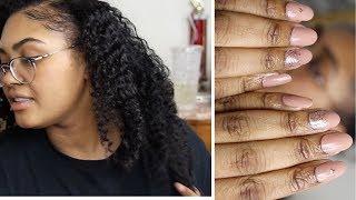 RANDOM NATURAL HAIR LENGTH CHECK AND HOW I DO MY NAILS AT HOME| KennieJD