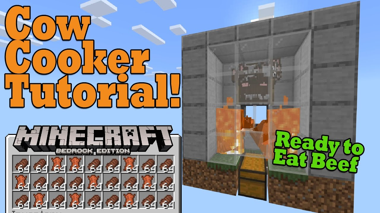 Super Easy Cow Farm Tutorial Minecraft Bedrock 1 16 Compact Cheap And Easy Youtube
