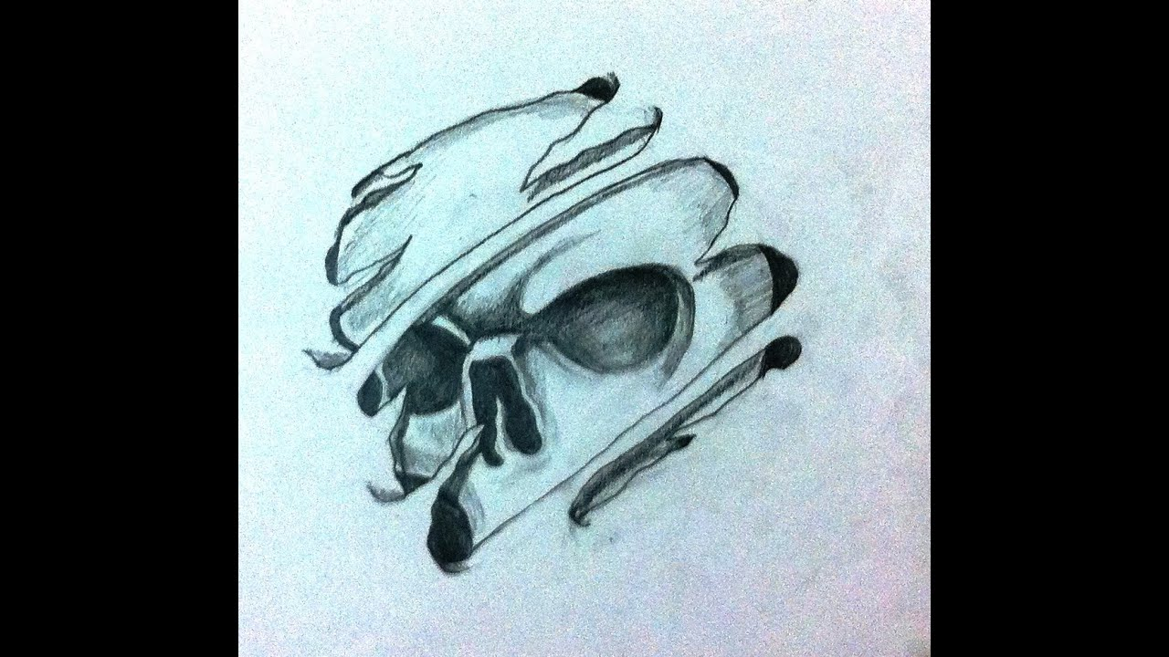 how to draw cool 3d skull tattoo desing - Speed Drawing ...