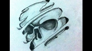 how to draw cool 3d skull tattoo desing - Speed Drawing