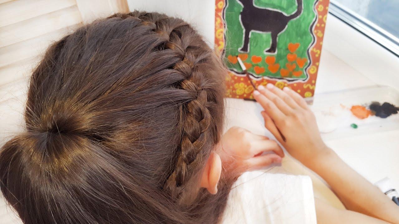 Французская коса с хвостом или Полузвездочка // French ...
