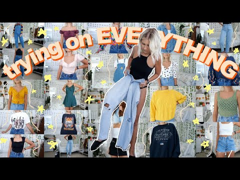 trying on ALL OF MY CLOTHES + everything I've ever thrifted | mom jeans, sweaters, tops, etc