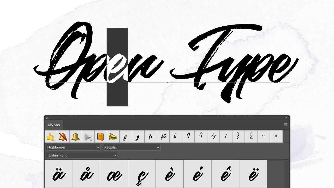 How to use and install an OTF font and use glyphs in Photoshop & Illustrator
