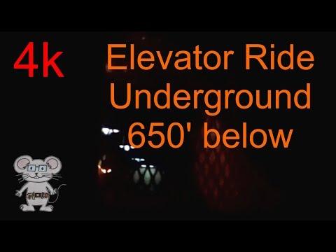 Elevator Ride down 650 feet underground in 4K
