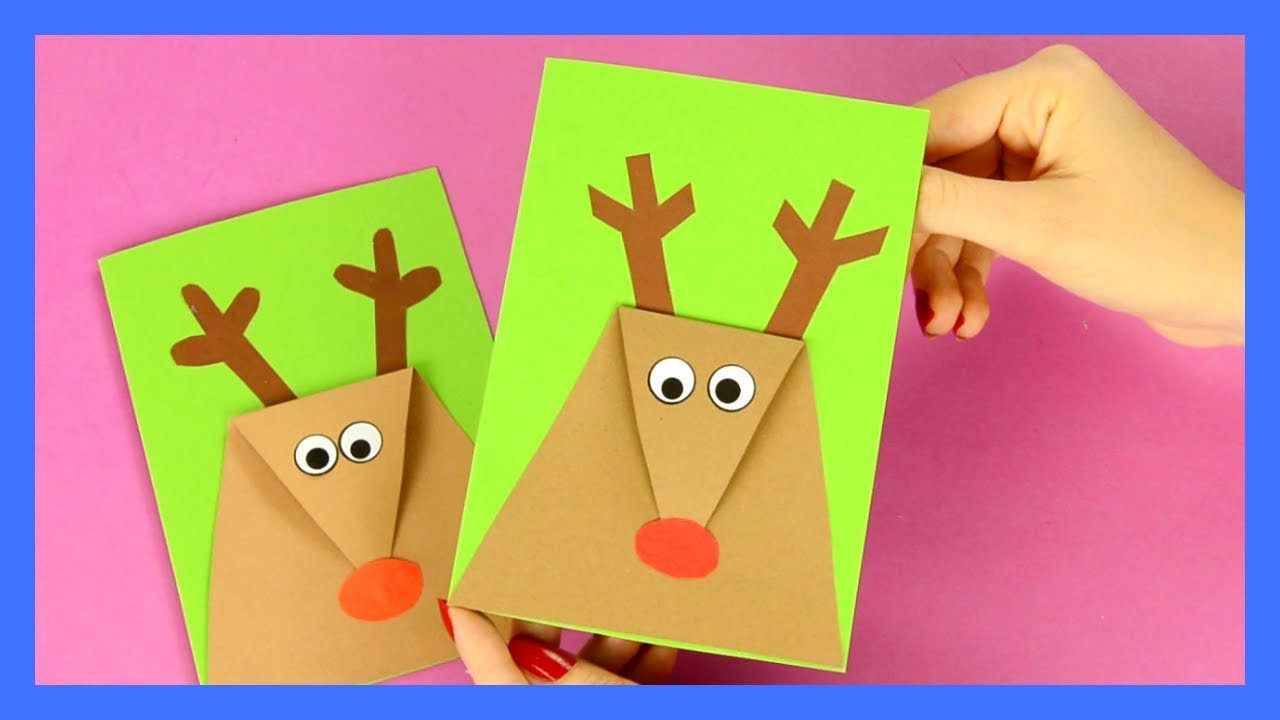 Reindeer Christmas Card Simple Christmas Craft For Kids Youtube