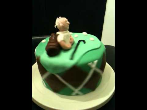 Old Man On Golf Cake With Golf Bag Youtube