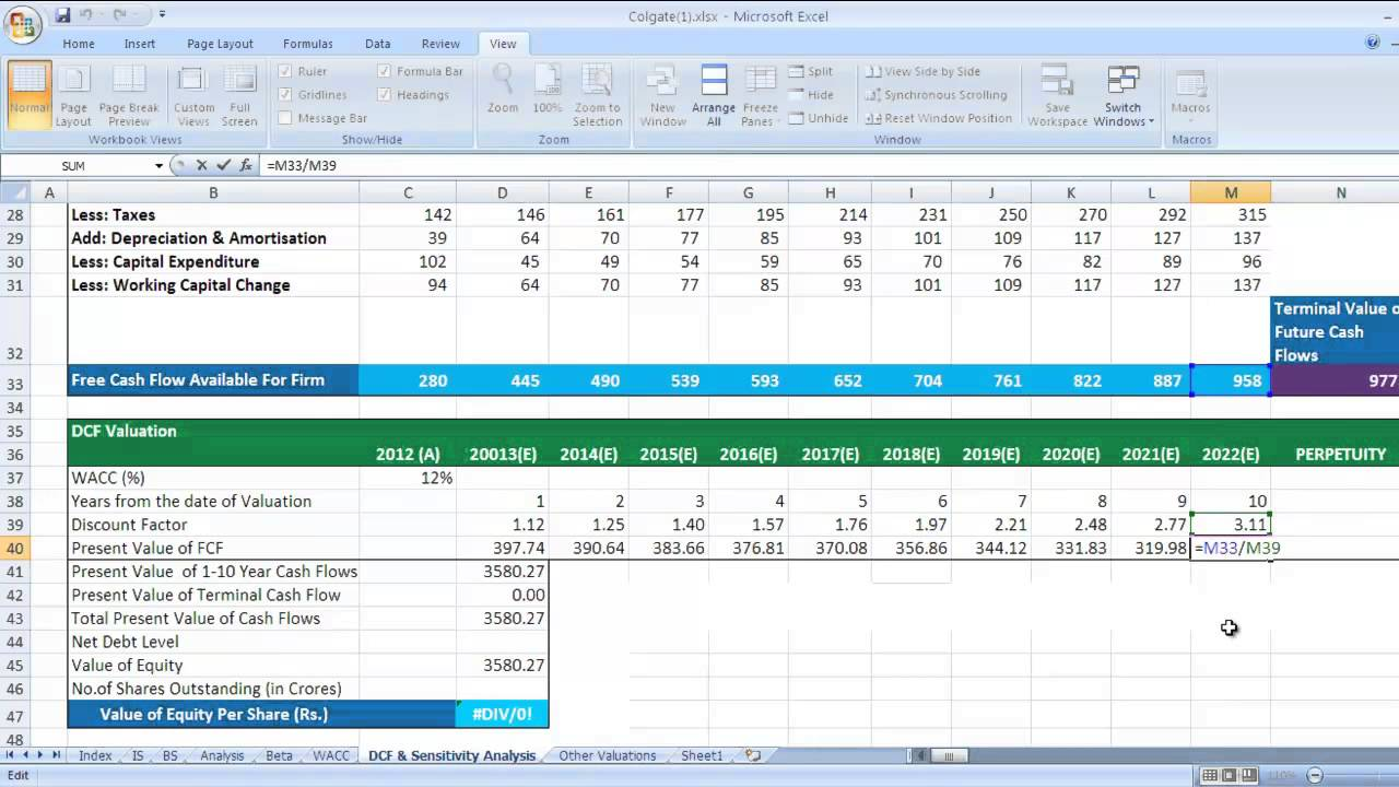 Dcf Discounted Cash Flow Valuation In Excel Video Youtube