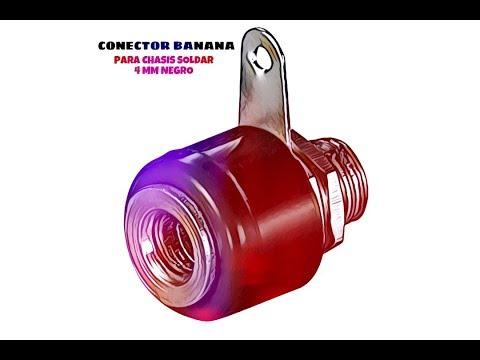 Video de Conector banana para chasis soldar 4 mm  Negro