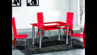 Red Glass Dining Table And Chairs