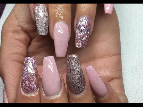 Acrylic Nails Marshmallow Pink Glitter Ballerina Shape