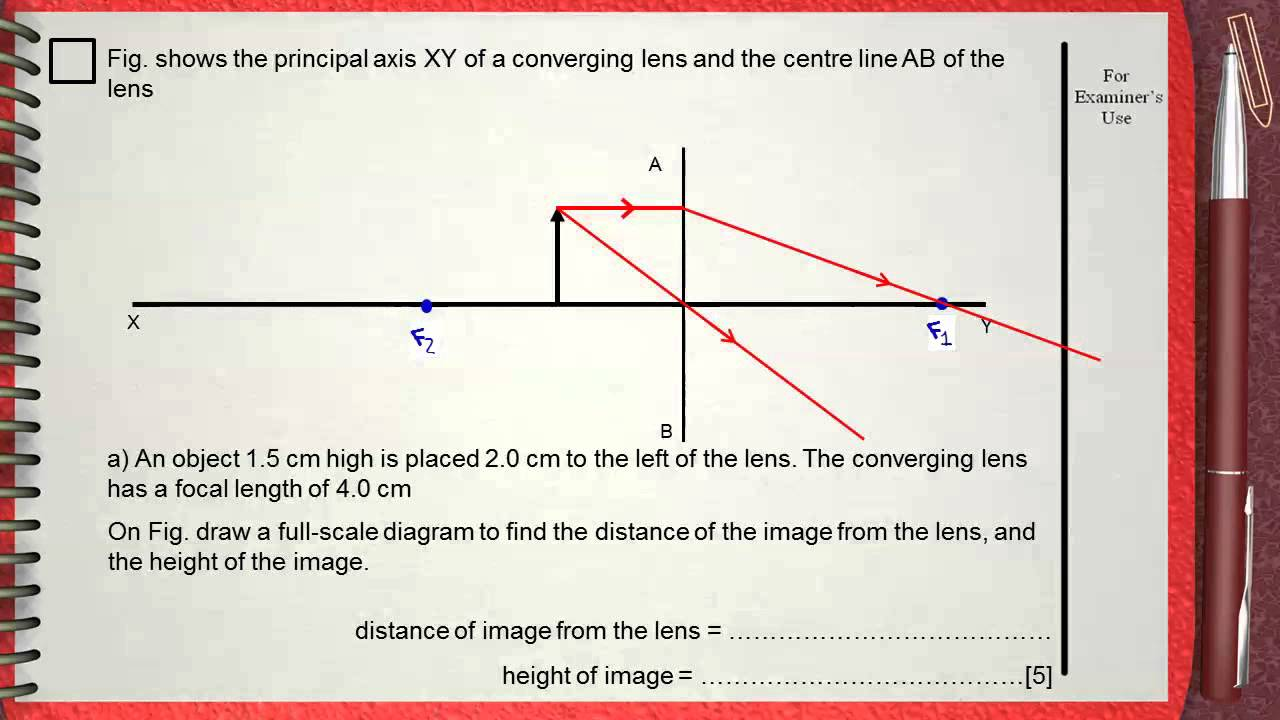 Q 03      L6 (Lenses)      Ch 5 Waves IGCSE past papers       (Ray Diagram)
