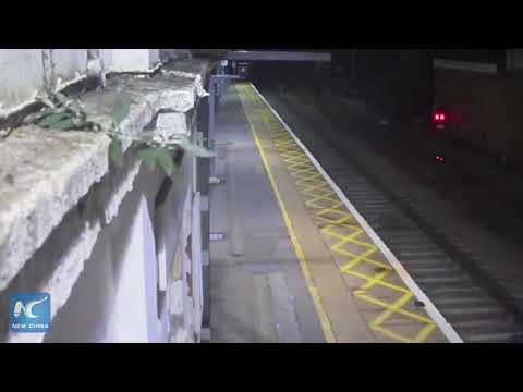 Drunk man narrowly avoids being hit by train