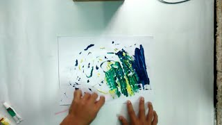 Water colour abstract painting on A4 sheet/Demonstration/with pallete knife