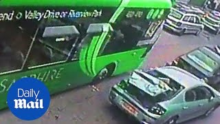 Out of control bus causes cars to collide on main road