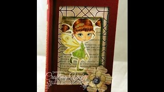 Altered shadow box book with fairy and handmade flowers