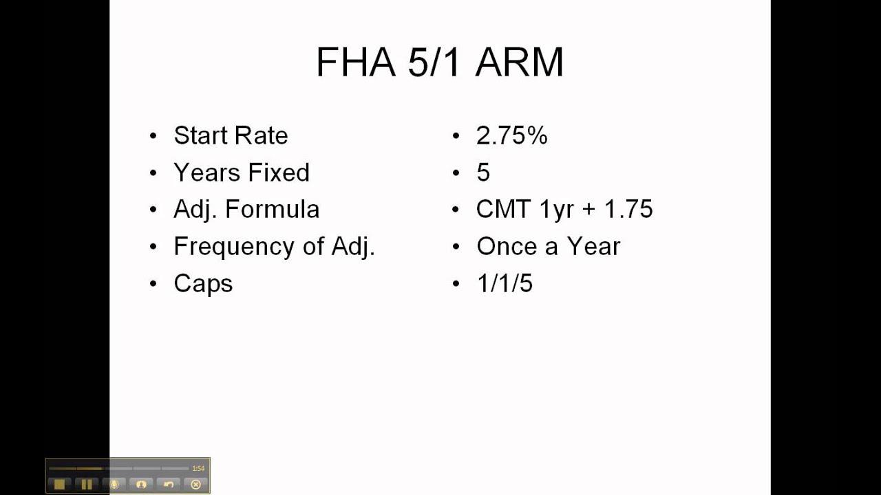 fha 5 1 arm vs fha fixed youtube