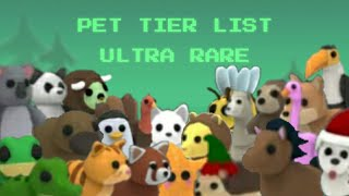 Adopt Me Ultra Rare Pet Tier List With Demand Worth And Values Roblox Youtube