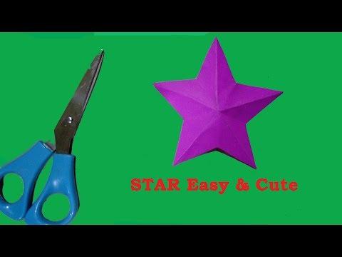 Homemade Paper star/origami paper star cute & easy/one cut