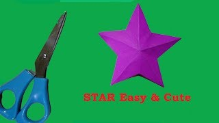 Homemade Paper star/origami paper star cute & easy/one cut