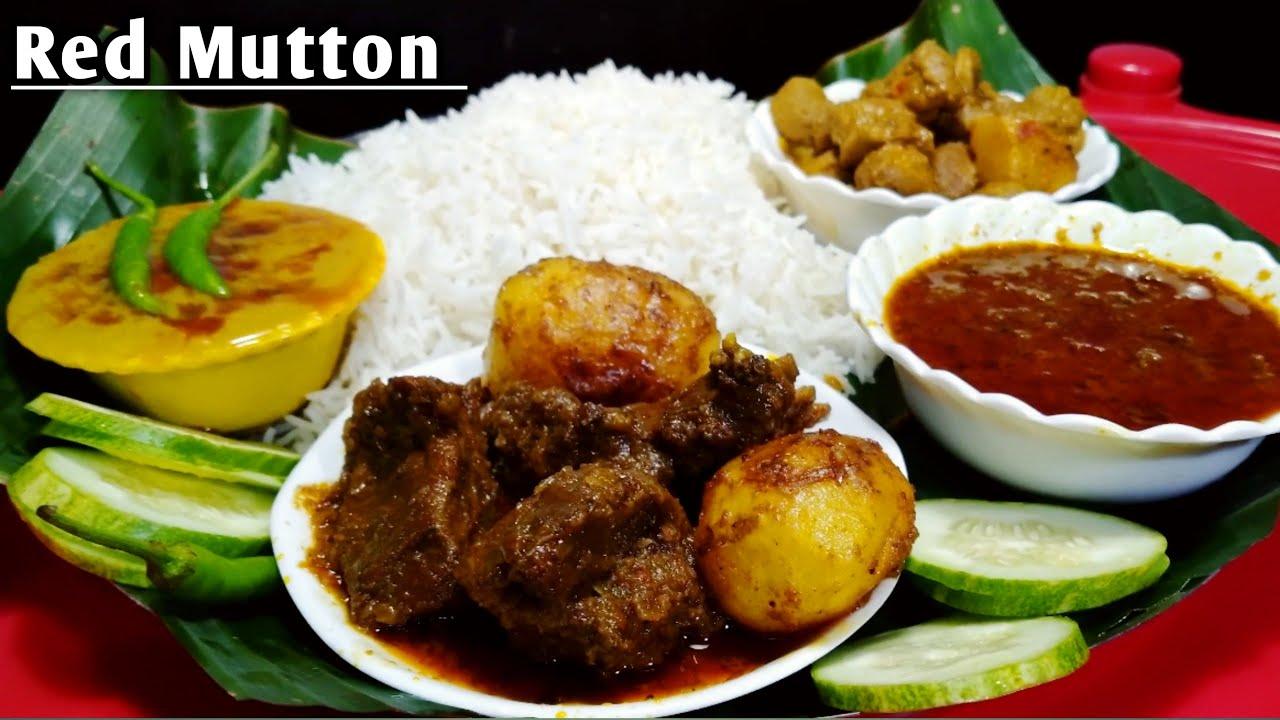 Eating Mutton dum aloo Basmati rice Spicy Mutton gravy dall Soyabin Curry || Asmr Mukbang show